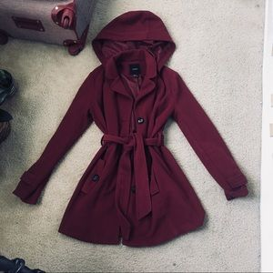 cozy maroon trench coat